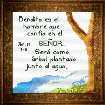 Arbol Aqua Jeremias 17:7-8 Spanish Cross Stitch Design