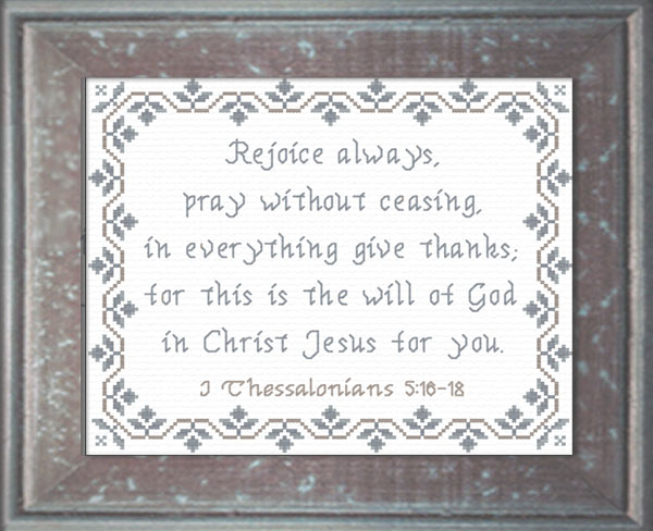 Rejoice always i thessalonians 5 16 18 cross stitch design for Pray without ceasing coloring page