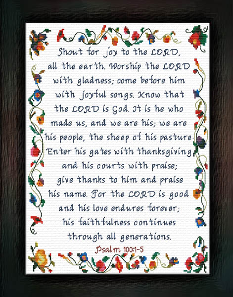 Shout for Joy to the LORD - Psalms 100:1-5 Custom Designs