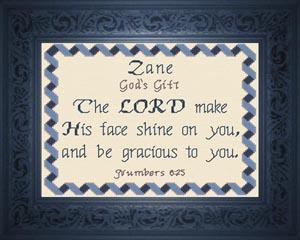 Zane Name Blessings Design